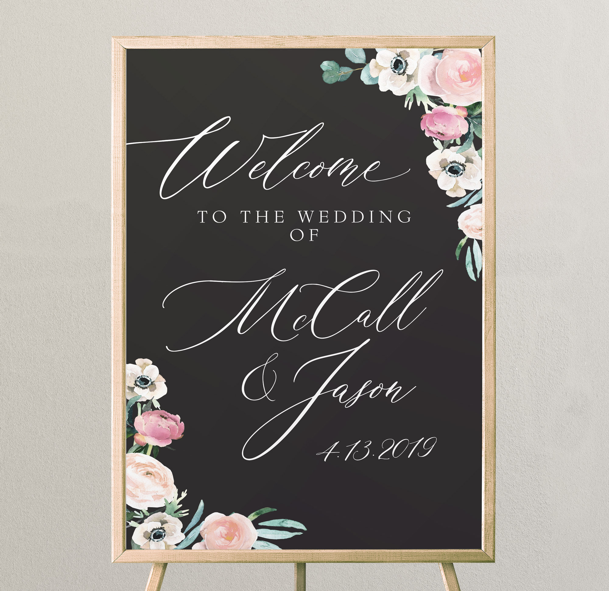 Black-and-Floral-Welcome-Sign