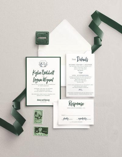 Emerald and Cream Wedding Invitation