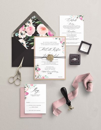 Black and Blush Floral Wedding Invitation