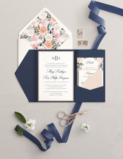 Navy and Blush Pocket Wedding Invitation
